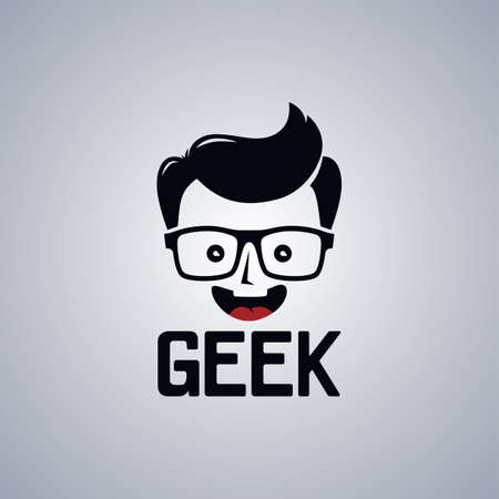 geek: geek nerd guy cartoon character theme vector illustration Illustration