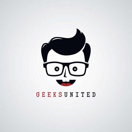 geek nerd guy cartoon character theme vector illustration Illustration