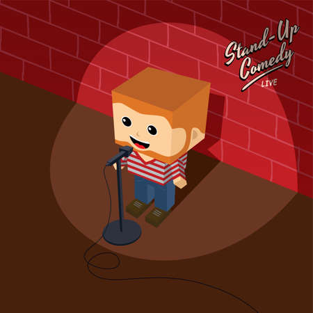 stand up: stand up comedy isometric block cartoon theme vector illustration
