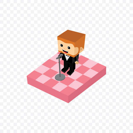 comedy: stand up comedy isometric block cartoon theme vector illustration