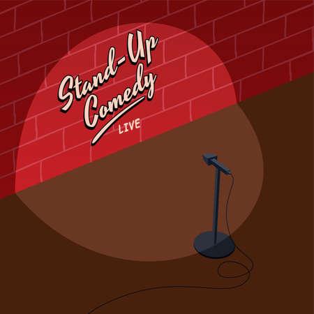 stand up comedy bloque isométrico ilustración del tema de la historieta del vector