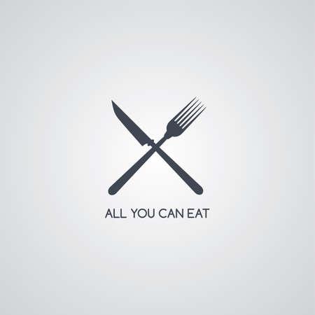 fork knife: fork knife restaurant logotype vector art illustration