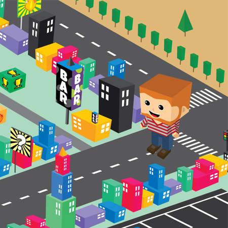 midget: block isometric world cartoon theme vector illustration Illustration