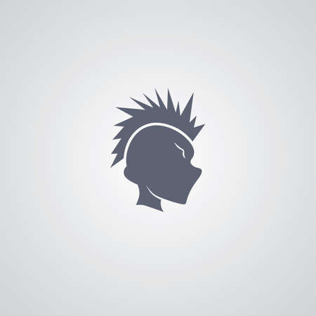 mohawk: mohawk guy logotype theme vector art illustration Illustration
