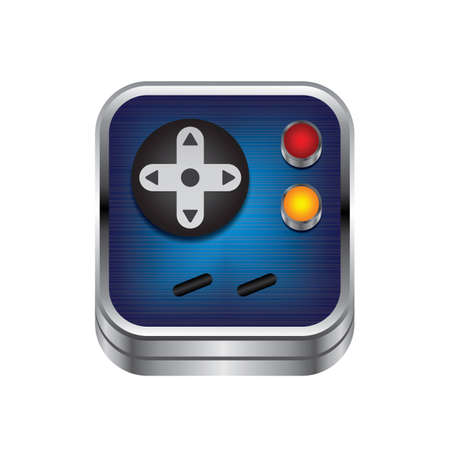 handheld device: game console button metal theme vector art illustration