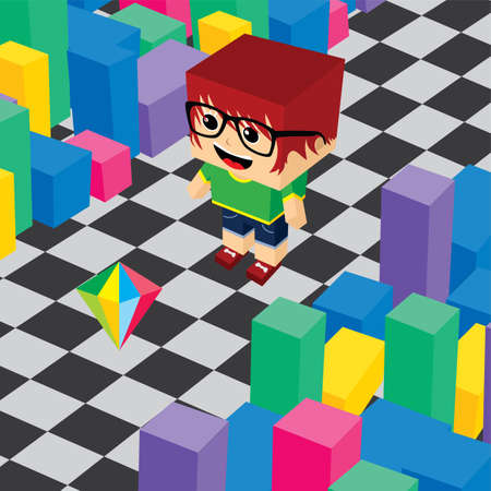 video game: geek boy invasion video game asset isometric vector Illustration