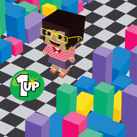 asset: geek boy invasion video game asset isometric vector Illustration