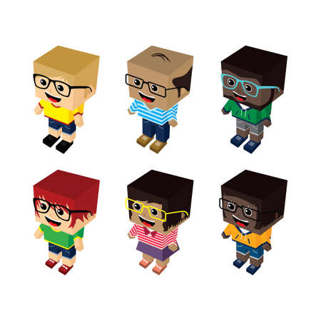 block: isometric block cartoon people