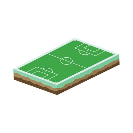 striker: cartoon soccer field isometric theme vector art illustration