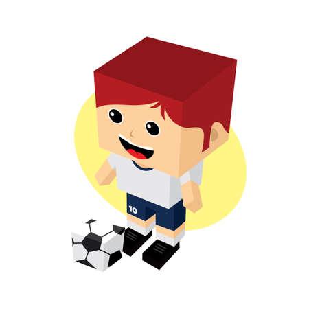 striker: cartoon soccer player isometric theme vector art illustration