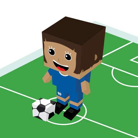 striker: female cartoon soccer player isometric theme vector art illustration