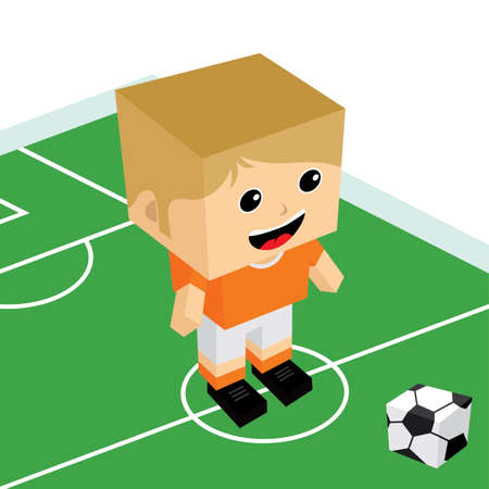 striker: male cartoon soccer player isometric theme vector art illustration Illustration