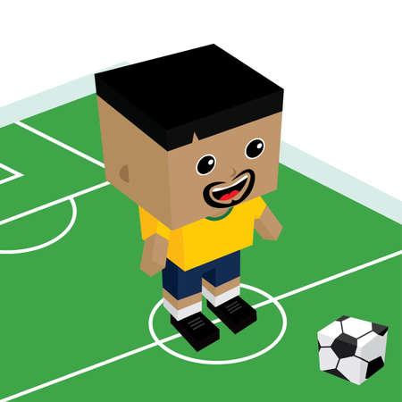 football stadium: male cartoon soccer player isometric theme vector art illustration Illustration