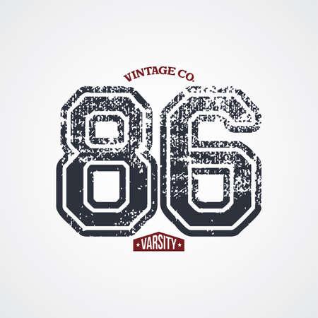 varsity: varsity number garment theme vector art illustration