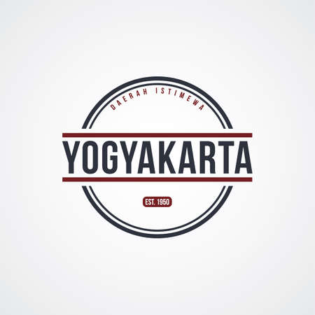 ジョグ ジャカルタ バッジ インドネシア ラベル テーマ ベクトル アート イラスト
