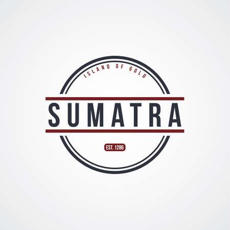 sumatra: sumatra badge indonesia label theme vector art illustration