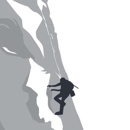 peak: mountain peak hiker adventurer theme vector art illustration