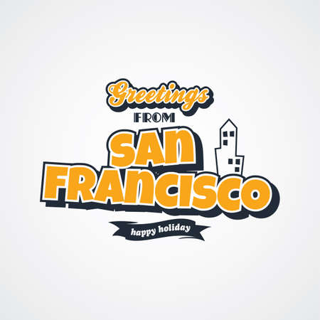 e card: san francisco vacation greetings theme vector art illustration