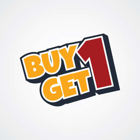 buy one: buy one get one free theme vector art illustration