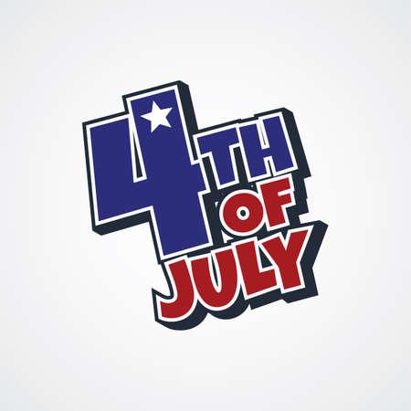 4th of july sign theme vector art illustration Illustration