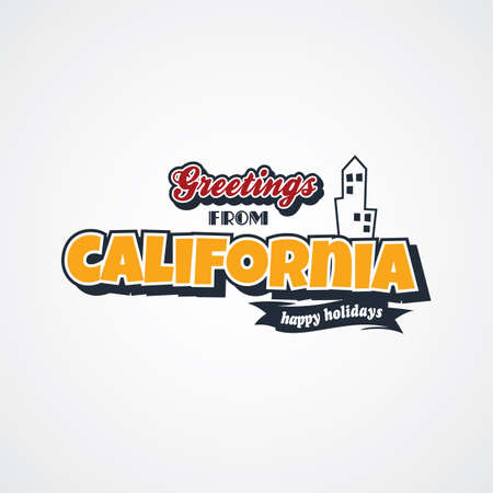 e card: california vacation greetings theme vector art illustration