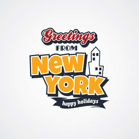 e new: new york vacation greetings theme vector art illustration
