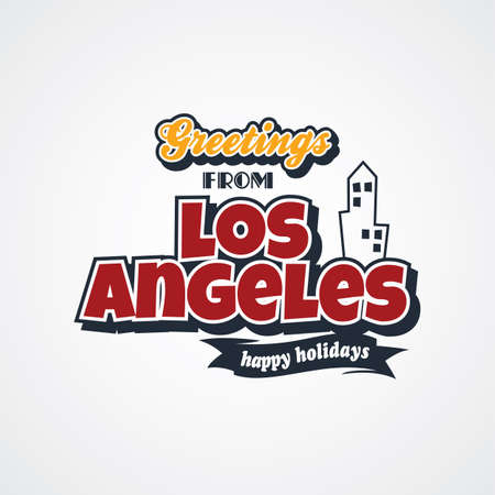 e card: los angeles vacation greetings theme vector art illustration