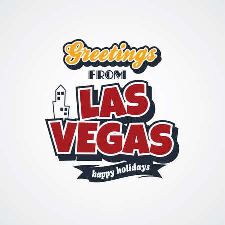 las vegas vacation greetings theme vector art illustration