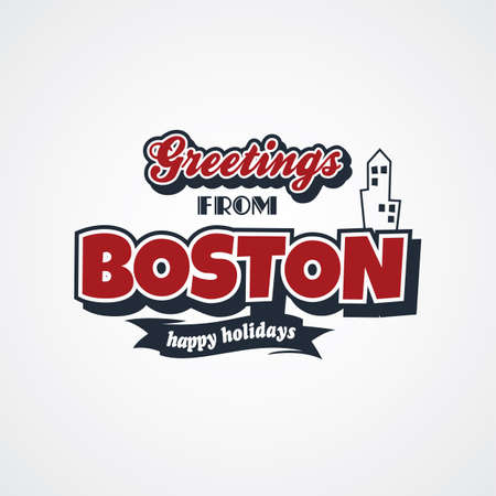 e card: boston vacation greetings theme vector art illustration