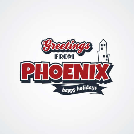 e card: phoenix vacation greetings theme vector art illustration