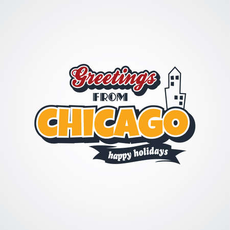 e card: chicago vacation greetings theme vector art illustration Illustration