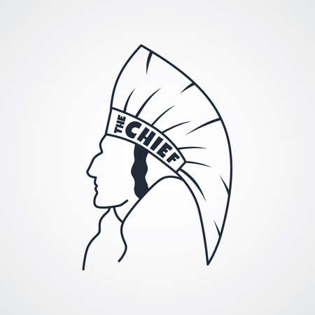 high school sports: indian chief art sign theme vector illustration