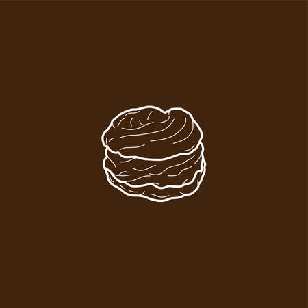 cream filled: choux pastry cream puff food theme vector art illustration