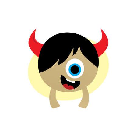 cyclops: happy little monster character theme vector art illustration