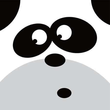 head i: square panda face icon button theme vector art illustration Illustration