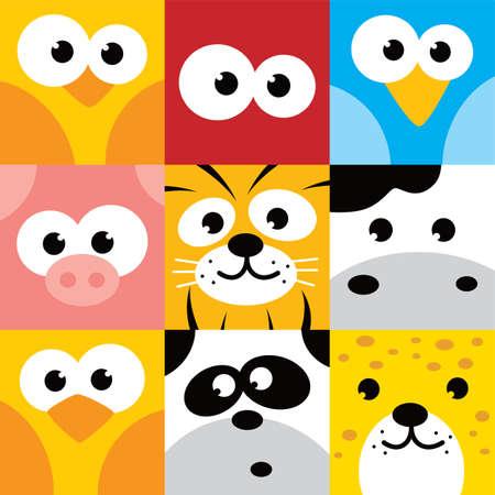 animales cuadrado botón de la cara conjunto de iconos ilustración vectorial