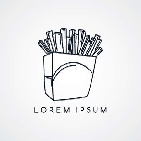 patatine fritte tema schizzo illustrazione grafica vettoriale Vettoriali