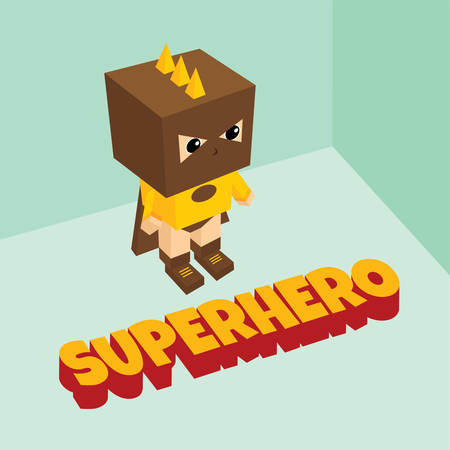 amazing: amazing superhero isometric theme vector art illustration