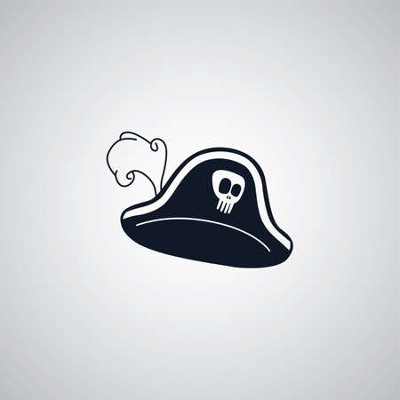 captain hat: pirate captain hat flat icon theme vector art illustration Illustration