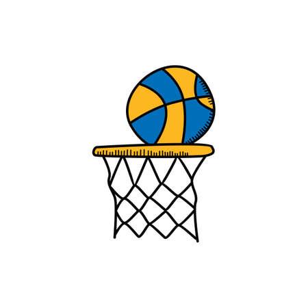 농구 만화 아이콘 테마 벡터 아트 그림