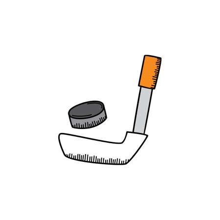ice hockey puck: ice hocket cartoon icon theme vector art illustration