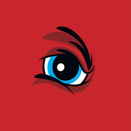 sullen: angry monster eye theme vector art illustration