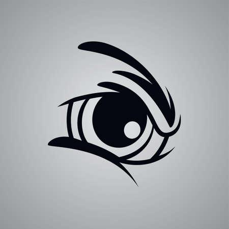 angry monster eye theme vector art illustration