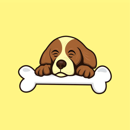 whelps: cute little puppy with bone theme vector art illustration