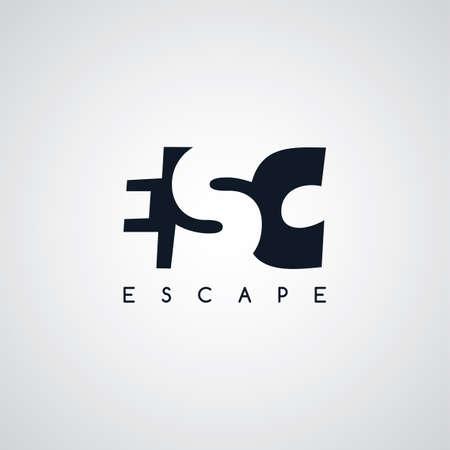 linked services: escape letter theme logotype vector art illustration