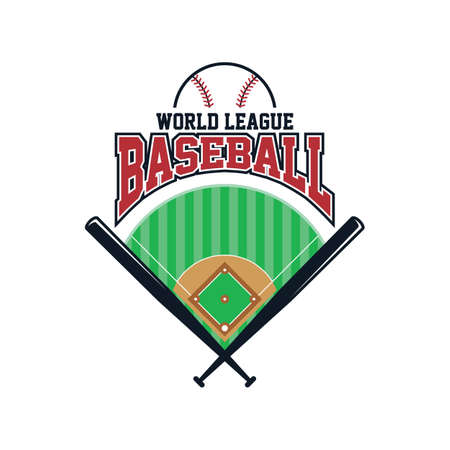 league: baseball league sport theme vector art illustration