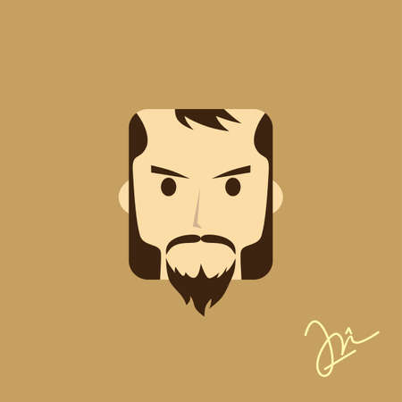 style goatee: gentleman avatar portrait icon theme vector art illustration