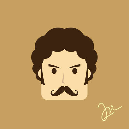good looking boy: gentleman avatar portrait icon theme vector art illustration