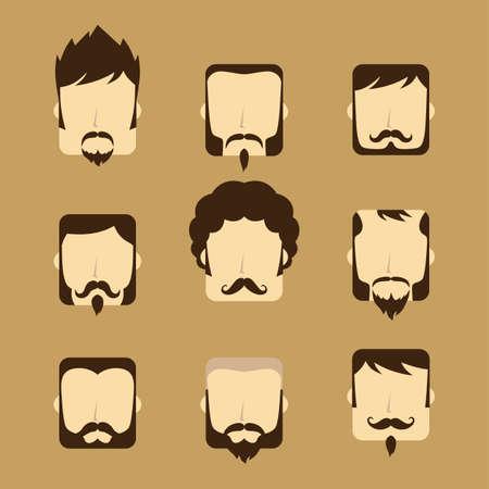 style goatee: gentleman avatar portrait icon theme vector art illustration