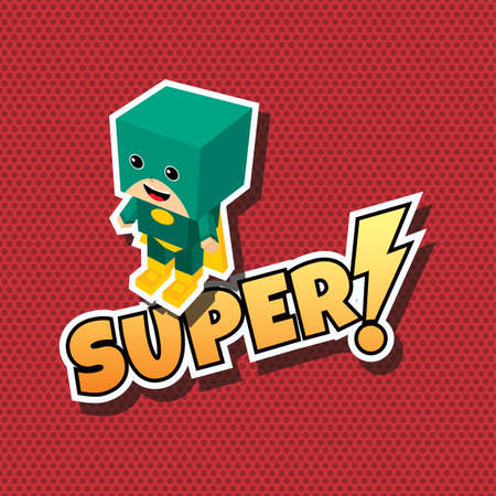 strong box: great superhero cartoon theme vector art illustration Illustration